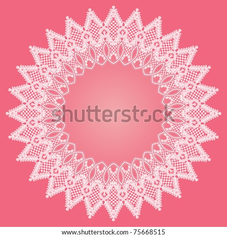 Lace round frame - stock vector
