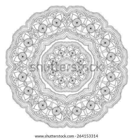 Lace round ornament. Ethnic mandala. Vector art - stock vector