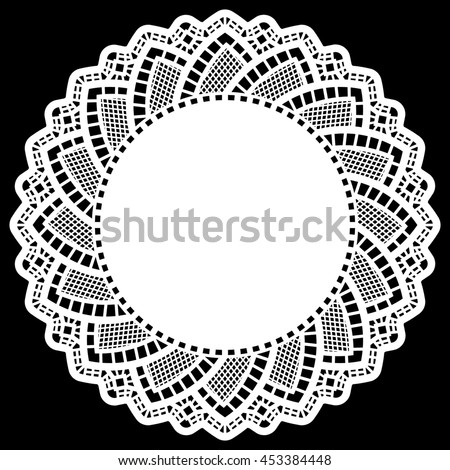 Lace round paper doily, lacy snowflake, greeting element package, doily - a template for cutting, lace pattern, elegant label,   vector illustrations
