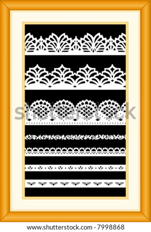Lace Sampler. Old fashioned antique vintage designs isolated on black background, matted oak wood picture frame for interior decorating, scrapbooks, arts, crafts, home decor. EPS8 compatible. - stock vector