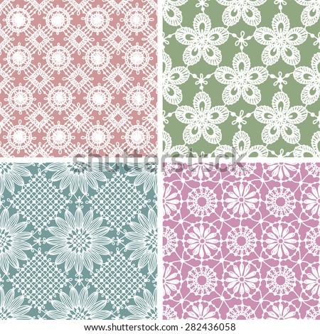 Lace seamless floral pattern. Multicolored Backgrounds. Set. - stock vector