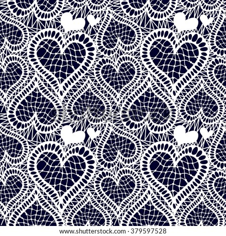 Lace seamless hand drawn vector pattern. Abstract hearts and floral motifs. Art Deco textile collection. White on dark blue. - stock vector