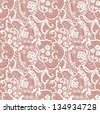 Lace seamless pattern with flowers on beige background - stock vector