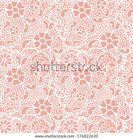 Lace seamless pattern with flowers. Vector illustration.