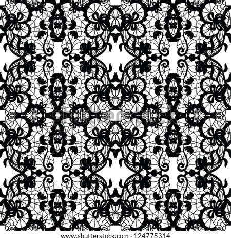 Lace vector fabric seamless pattern - stock vector