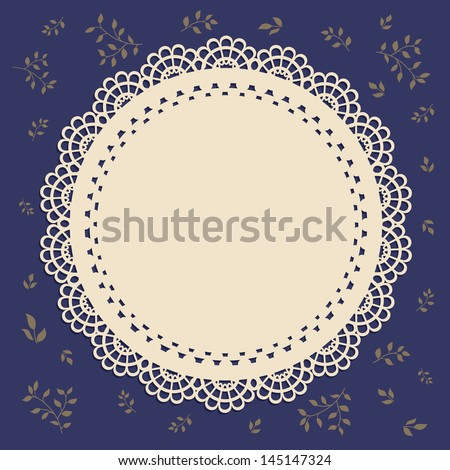 Lace vintage label brown with brown foliage - stock vector