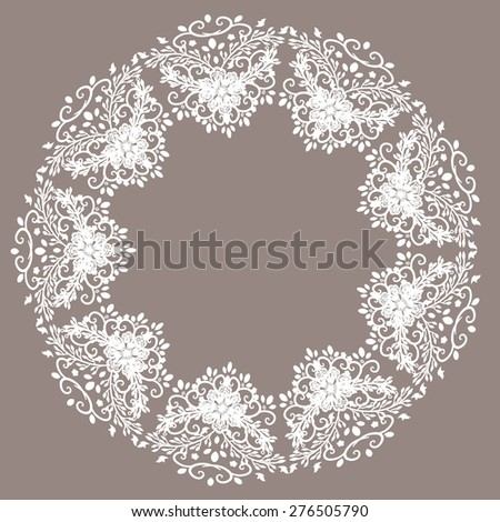 Lace / wedding lace / round lace / floral lace / white lace - stock vector