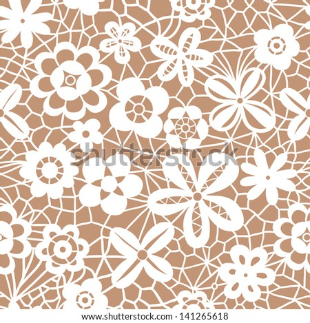 Lace white seamless pattern with flowers on beige background - stock vector