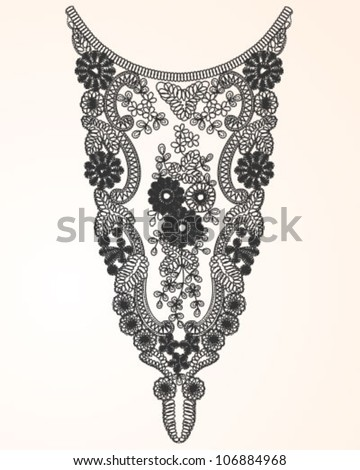 Laced Neckline - stock vector