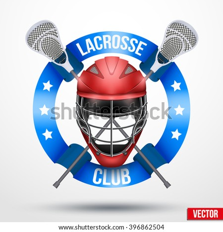 Lacrosse sticks and helmet with ribbons. Sporting Symbol and mascot. Vector Illustration Isolated on background. - stock vector