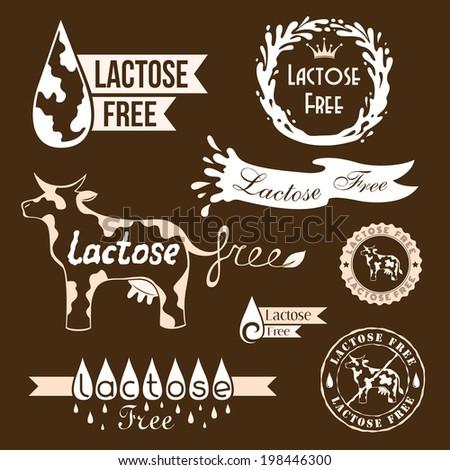 Lactose free design elements. Monochrome version.  - stock vector