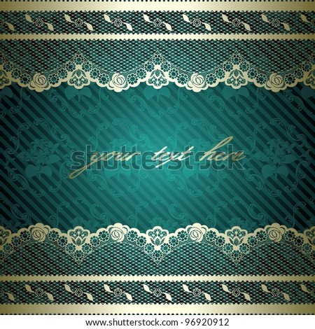 Lacy design with dark green background (eps10); jpg version also available - stock vector
