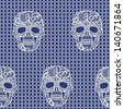 Lacy skull and mesh.Trendy  vector seamless pattern. - stock vector