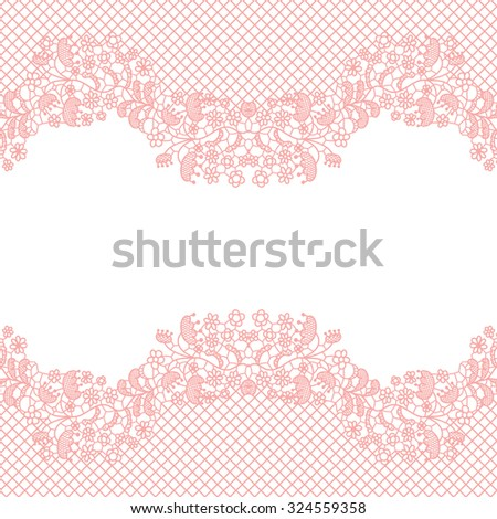 Lacy wedding invitation card. Seamless lace border. Vector illustration. - stock vector