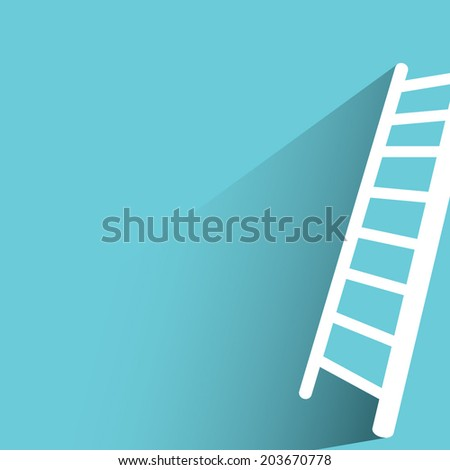 Ladder, blue background, flat and shadow theme - stock vector