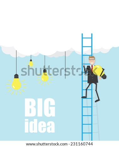 Ladder from cloud and businessman with lamp - stock vector