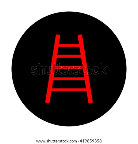 Ladder sign. Red vector icon