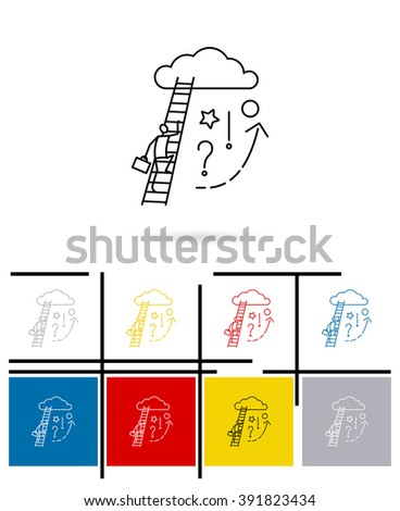 Ladder to cloud icon or ladder to cloud sign. Vector ladder to cloud thin line symbol - stock vector