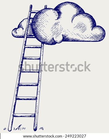 Ladder to clouds. Competition concept. Doodle style