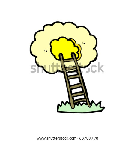 ladder to heaven cartoon - stock vector