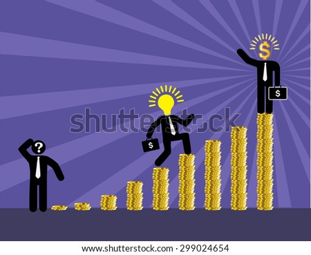 Ladder to success. Step by step infographics illustration. businessman walking up stairs chart. vector. money. dream concept. speech bubble. idea light bulb. money - stock vector