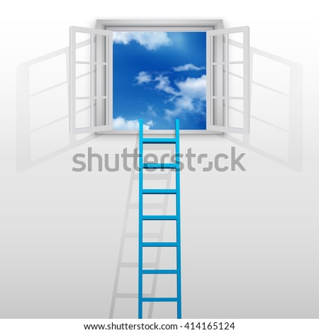 Ladder to window on blue sky - stock vector