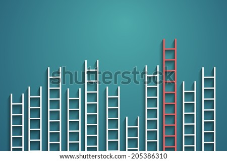 ladders on wall ,competition concept, vector eps10 - stock vector