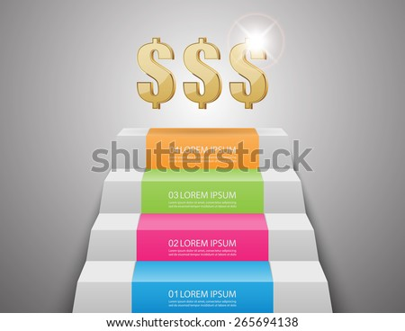 ladders to money.vector illustration - stock vector