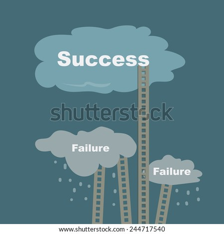 ladders to success and to failure - stock vector
