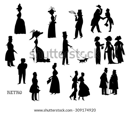 Ladies and gentlemen on walk. Symbolic vintage style, black and white silhouette. Big vector set