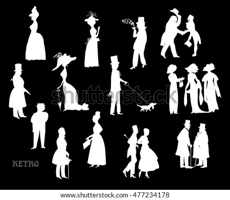 Ladies and gentlemen on walk. Symbolic vintage style, black and white silhouette. Big vector set. On a black background