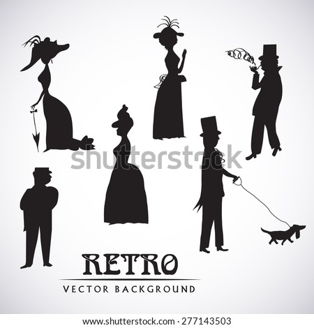 Ladies and gentlemen on walk. Symbolic vintage style, black and white silhouette. Vector collection
