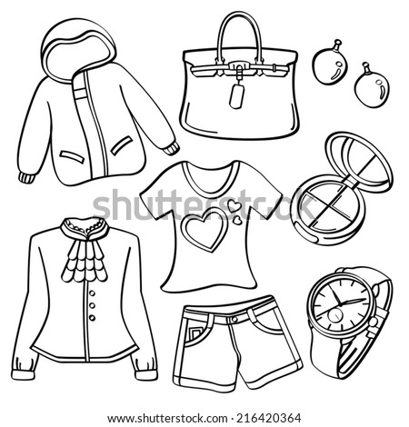 Ladies Clothing and Accessories - stock vector