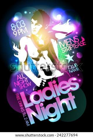 Ladies night party design with hot topless man. Eps10