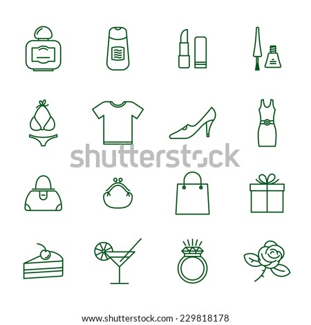 Ladies shopping  thin line vector icon set. - stock vector