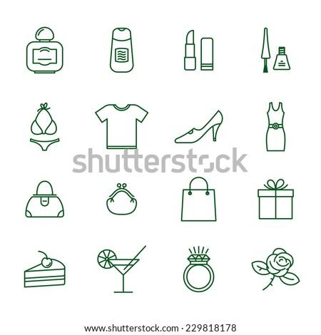 Ladies shopping  thin line vector icon set. - stock vector