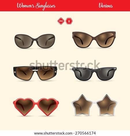 ladies sunglasses set,vector - stock vector