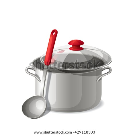 Ladle with a pan isolated on white. Vector illustration.