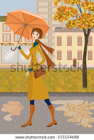 Lady and autumn city. Illustration of girl with a umbrella on a background of city. Autumn landscape and rain. - stock vector