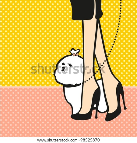 Lady and her dog - stock vector