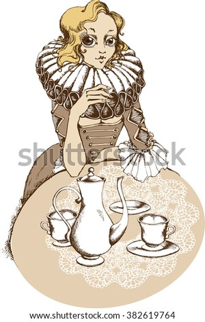 lady at the tea table. vector illustration - stock vector