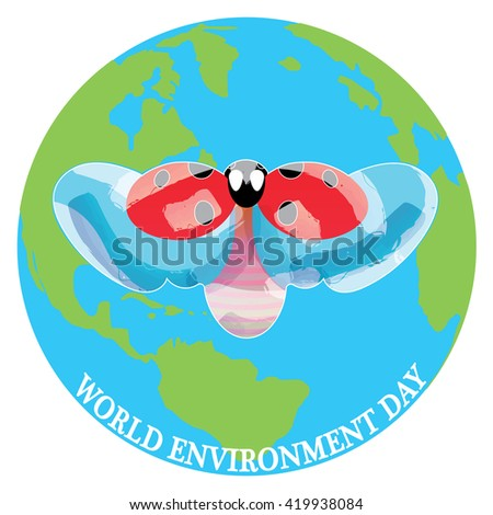 Lady Bird above the Earth for the World Environment Day, vector image - stock vector