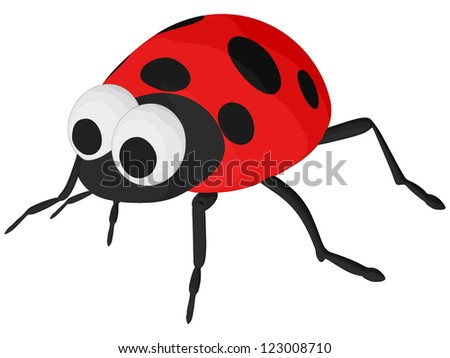 Lady Bug (vector, isolated on white background) - stock vector