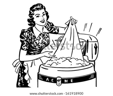 Lady Doing Laundry - Retro Clip Art Illustration