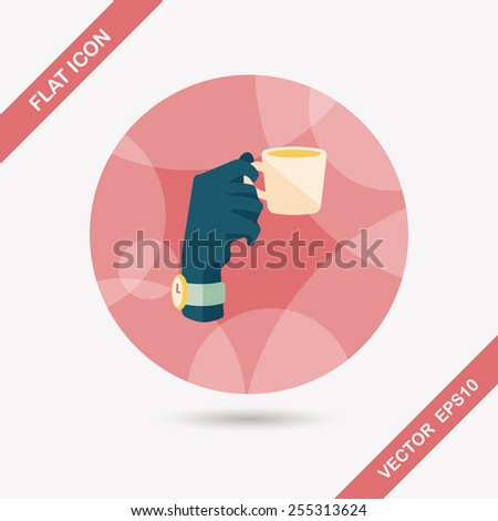 lady drinking coffee flat icon with shadow,eps10