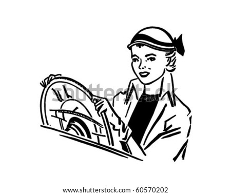 Lady Driver - Retro Clip Art - stock vector