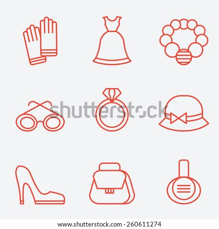 Lady fashion accessories, thin line icons, flat design - stock vector