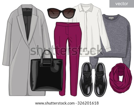 Lady fashion set of autumn season outfit. Illustration stylish and trendy clothing. Coat, pants, blouse, bag, sunglasses, shirt, high heel shoes. Vector. - stock vector