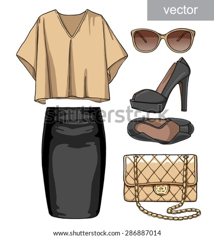 Lady fashion set of summer outfit. Illustration stylish and trendy clothing. Skirt, blouse, handbag, sunglasses, high heel shoes. Vector. - stock vector