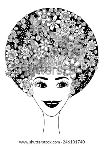 Lady Flower Doodle Vector - stock vector
